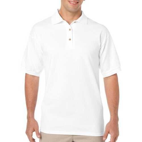Case of [12] Irregular Gildan White Polo Shirts - Size Large