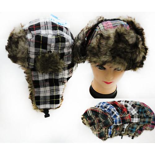 Faux Fur Lined Bomber Plaid Winter Hat