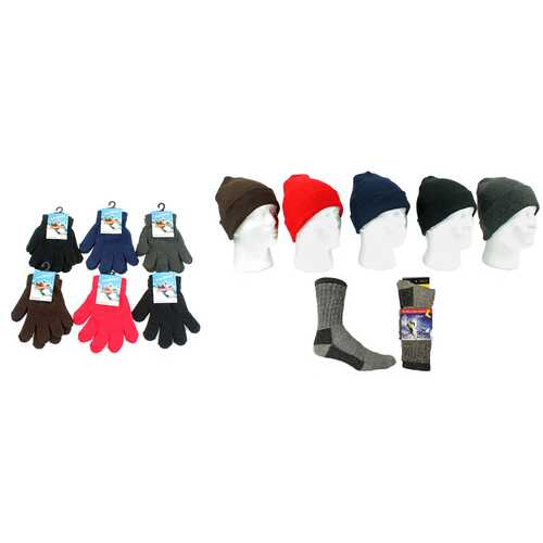 Case of [180] Kids' Knit Hat, Magic Gloves & Merino Socks Combo