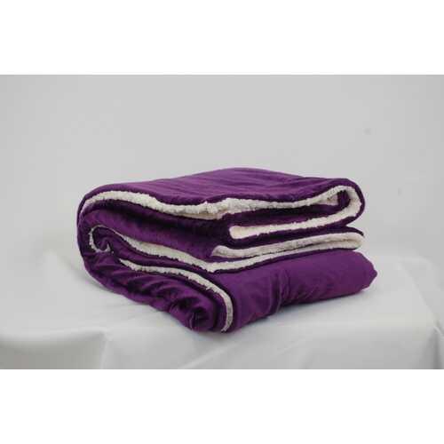 "Case of [12] Micro Mink/Sherpa Blanket 50"" x 60""- Plum"