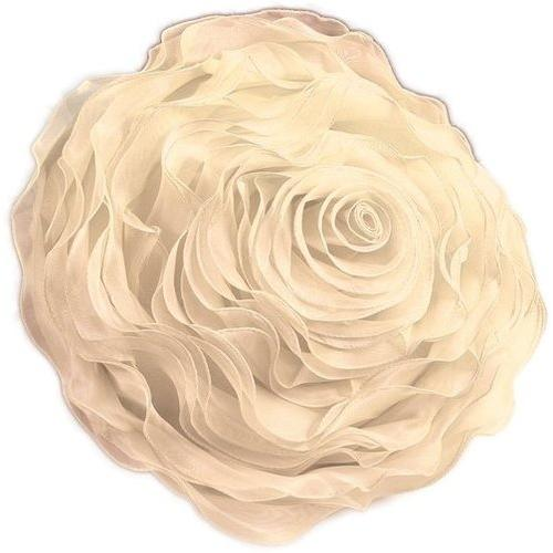 Case of [1] Ruffled Rose Decorative Pillow Throw - Champagne