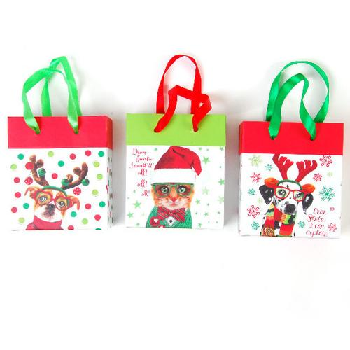 Case of [12] Christmas Paper Bucket with Satin Ribbon Handle