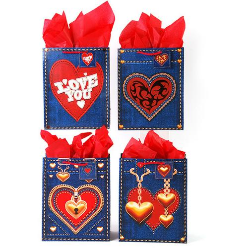 Case of [120] Large Size Hot Stamping on Matte Finish Denim-look Valentine Gift Bags in 4 Assorted Designs