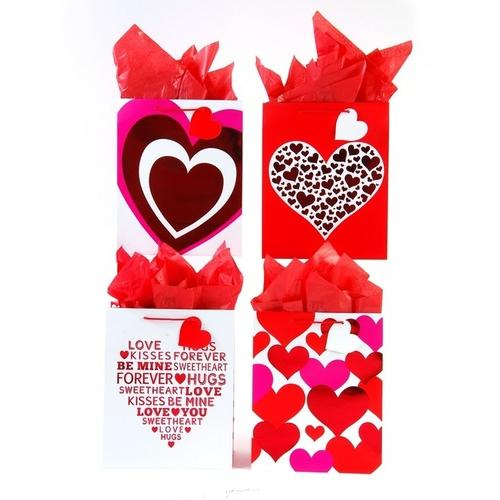 Case of [108] Extra Large Simple Hearts Embossed Hot Stamped Valentin Love Gift Bag in 4 Assorted Designs