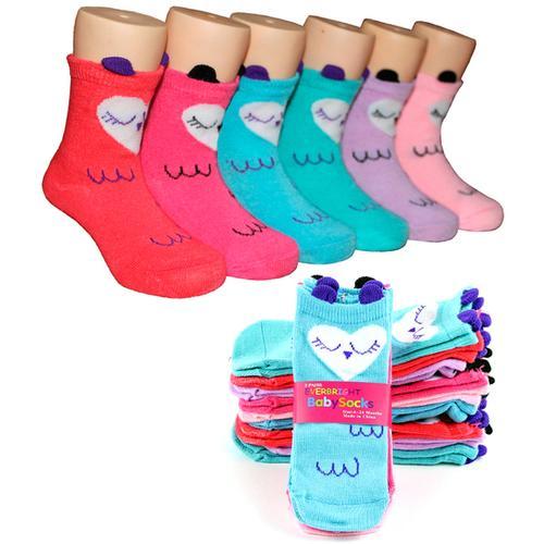 Baby Girls Owl Print Novelty Crew Socks - Size 6-24M