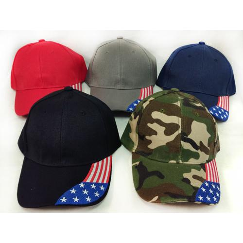 Case of [36] American Flag Inset Adjustable Baseball Hat