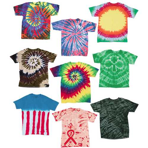 Case of [12] Adult Slightly Irregular Tie Dye T-Shirts - Assort - Size Large