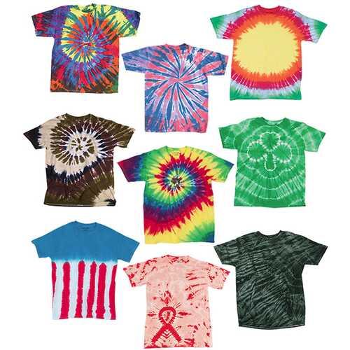 Case of [12] Adult Slightly Irregular Tie Dye T-Shirts - Assort - Size Large