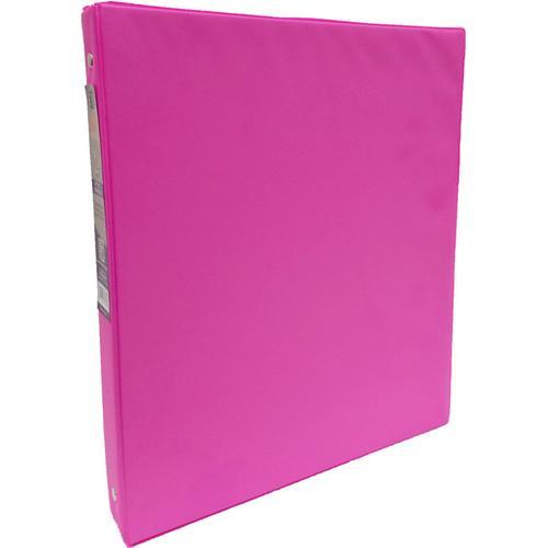 "Case of [24] 1"" Hard Cover (PVC Free) 3-Ring Binder - Neon Pink"