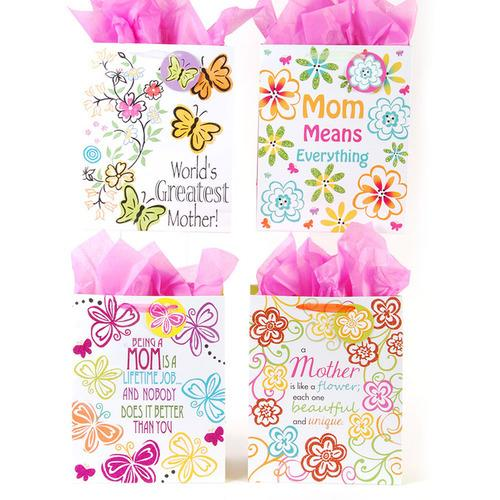 "Case of [108] ""Love Mom"" Gift Bags - Extra Large"