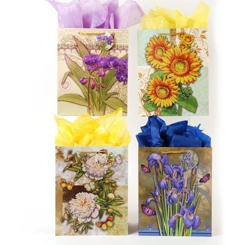 Case of [108] Elegant Bouquets of Flowers Gift Bags - Extra Large