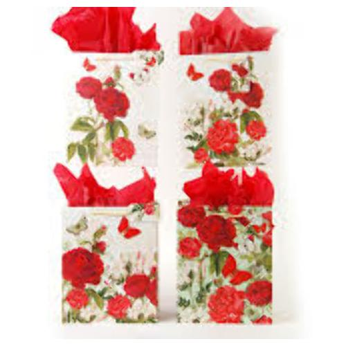 Case of [108] Horizontal Vintage Rose Red Gift Bags