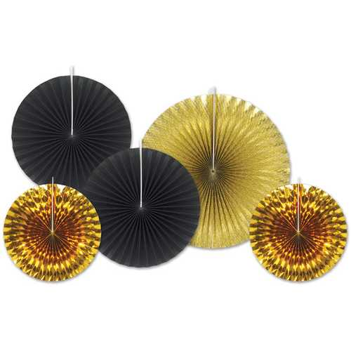 Case of [12] Assorted Paper & Foil Decorative Fans - Assorted Black & Gold