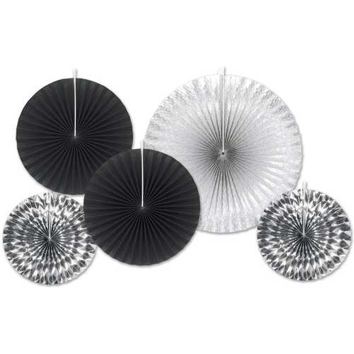 Case of [12] Assorted Paper & Foil Decorative Fans - Assorted Black & Silver