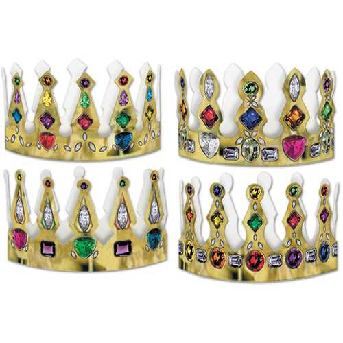 Case of [12] Packaged Printed Jeweled Crowns - Assorted Designs #22306