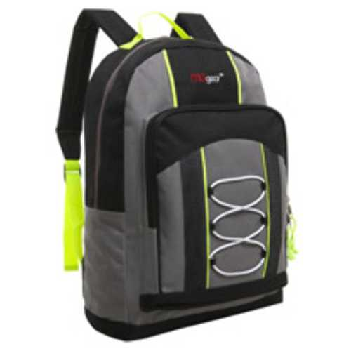 """Case of [20] 15"""" Classic Bungee Pocket Backpack - Grey"""