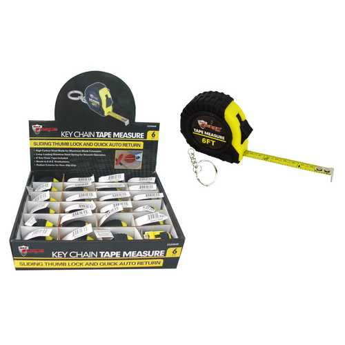 """Case of [24] 6"""" Yellow & Black Keychain Tape Measure"""