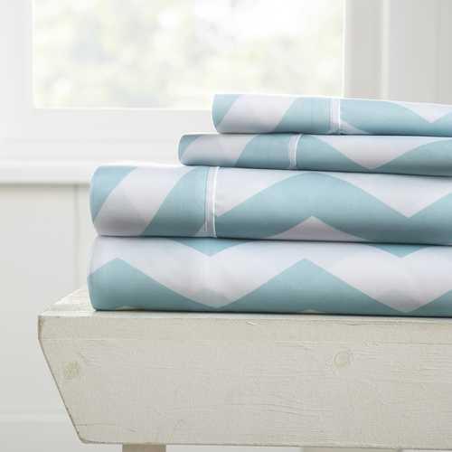 Case of [12] Twin Premium Arrow Pattern 4 Piece Sheet Set - Turquoise
