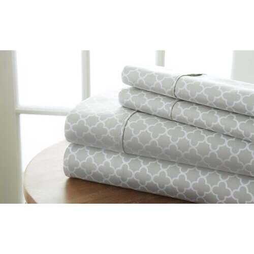 Case of [12] Full Quatrefoil Pattern 4 Piece Sheet Set - Gray