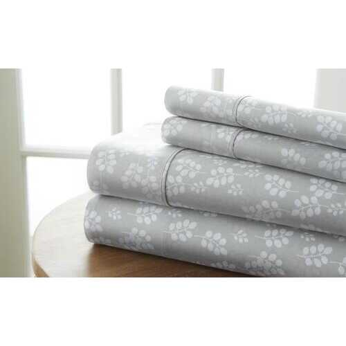Case of [12] Full Premium Wheat Pattern 4 Piece Bed Sheet Set - Gray
