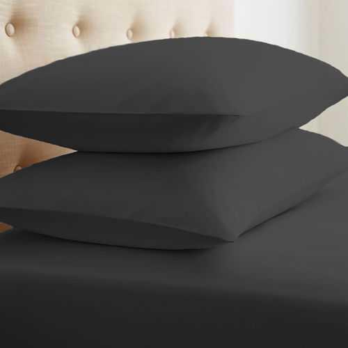 Case of [24] Soft Essentials Double-Brushed Microfiber 2 Piece Pillow Case Set - Black - Standard