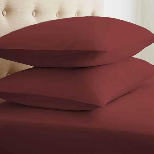 Case of [24] Standard Double-Brushed Microfiber 2 Piece Pillow Case Set - Burgundy
