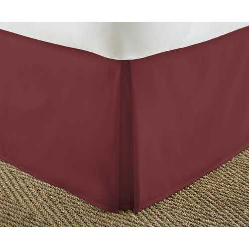 Case of [12] Soft Essentials Premium Pleated Bed Skirt Dust Ruffle - Burgundy - King
