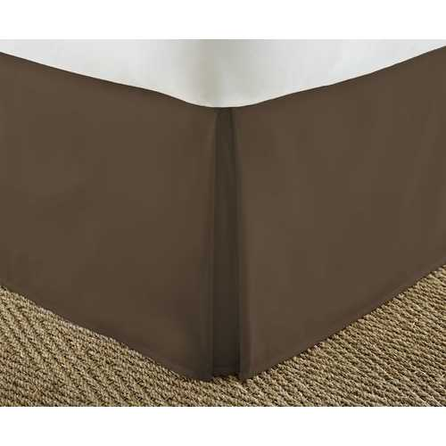 Case of [12] Soft Essentials Premium Pleated Bed Skirt Dust Ruffle - Chocolate - Cal King
