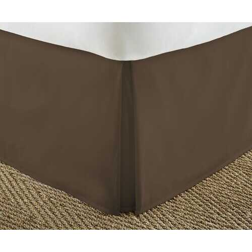 Case of [12] Soft Essentials Premium Pleated Bed Skirt Dust Ruffle - Chocolate - Twin XL