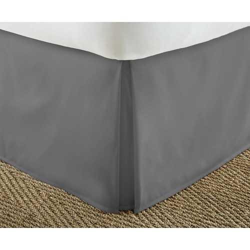 Case of [12] FullPremium Pleated Bed Skirt Dust Ruffle - Gray