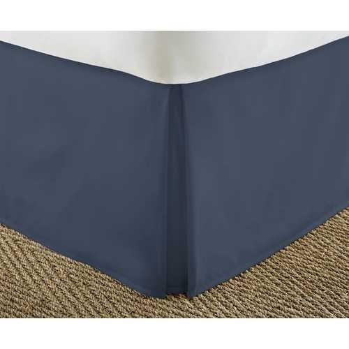 Case of [12] California KingPremium Pleated Bed Skirt Dust Ruffle - Navy