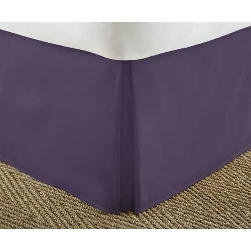 Case of [12] Soft Essentials Premium Pleated Bed Skirt Dust Ruffle - Purple - King