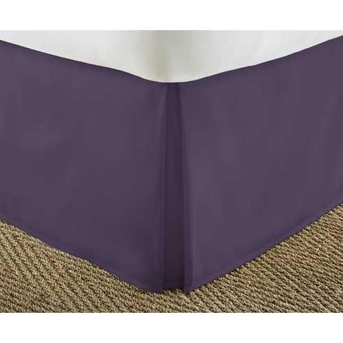 Case of [12] QueenPremium Pleated Bed Skirt Dust Ruffle - Purple
