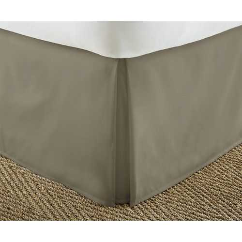 Case of [12] Soft Essentials Premium Pleated Bed Skirt Dust Ruffle - Taupe - Cal King