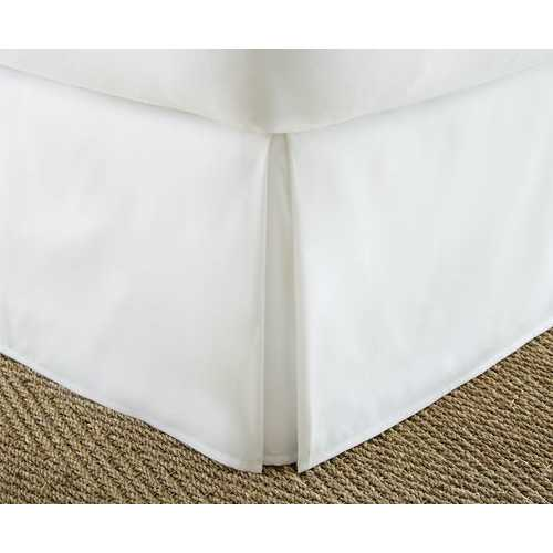 Case of [12] QueenPremium Pleated Bed Skirt Dust Ruffle - White