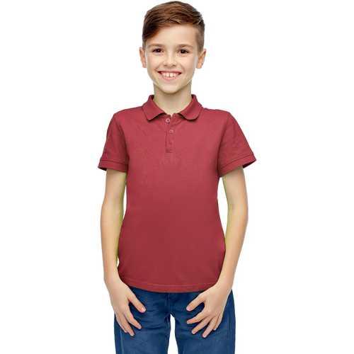 Case of [36] Boys Short Sleeve Burgundy Polo Shirts - Size 8-14