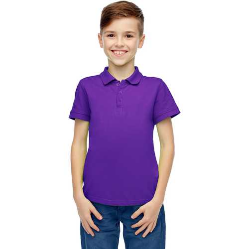 Case of [36] Boys Short Sleeve Grape Polo Shirts - Size 8-14