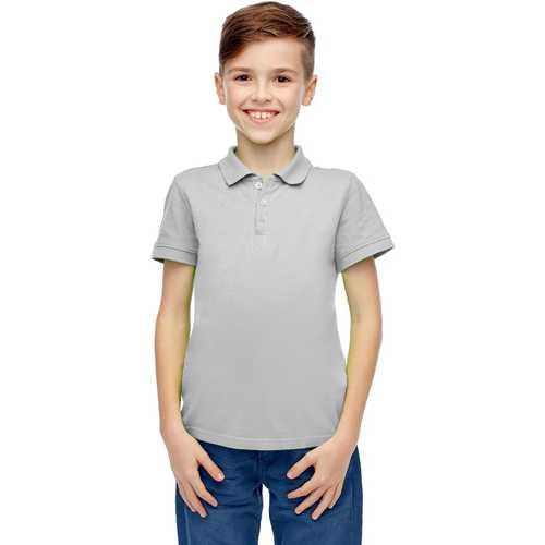 Case of [36] Boys Short Sleeve Heather Gray Polo Shirts - Size 8-14