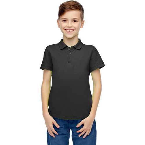 Case of [36] Boys Short Sleeve Black Polo Shirts - Size 4-7