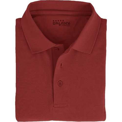 Case of [36] Adult Short Sleeve Burgundy Polo Shirts - Sizes M-XXL