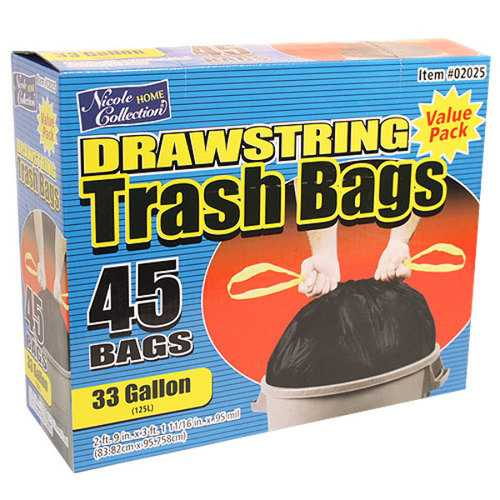 Case of [6] 33 Gallon Drawstring Trash Bags 45-Packs - Nicole Home Collection