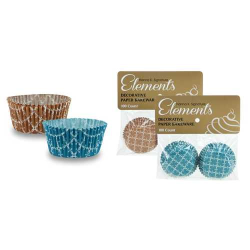 "Case of [24] 1.25"" Mini Baking Cups - Teal/Caramel - 100-Packs - Hanna K. Signature Elements"