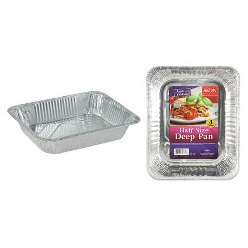Case of [25] Banded - Half Size Deep Aluminum Pan - 4-Packs - Nicole Home Collection