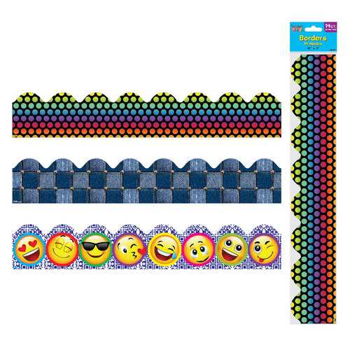 Case of [12] 14 count Wavy Printed Assorted Bulletin Board Borders