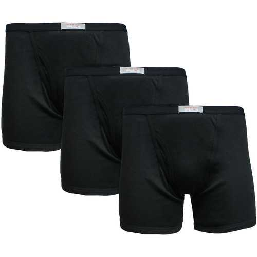 Case of [12] 3-Pack Mens Black Knit Boxer Briefs - Size Small