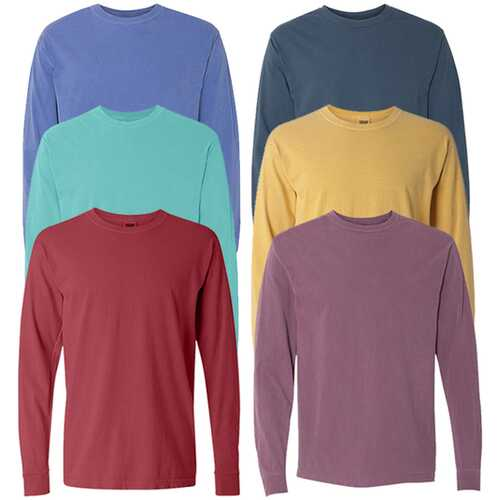Case of [12] Irregular Garment Dyed Adult Long Sleeve T-Shirts - Assorted - Size Small