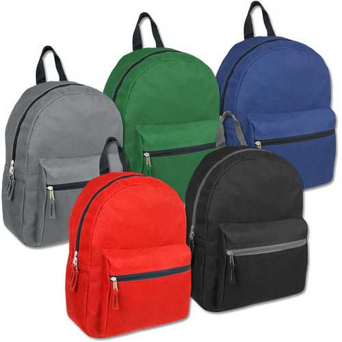 """Case of [24] 15"""" Basic Backpack - 5 Assorted Colors"""