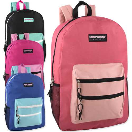 """Case of [24] 19"""" Basic Backpack - 4 Assorted Colors"""