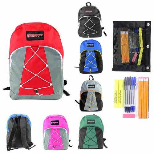 "Case of [12] Pre-Filled 17"" Classic Bungee PureSport Backpack & High School Supply Kit Set"