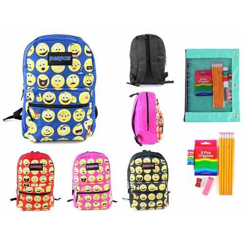 "Case of [12] Pre-Filled 17"" Classic Emoji PureSport Backpack & Elementary School Supply Kit Set"